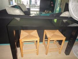 Black lacquer console table w/ benches. 2 set available.
