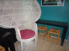 Large fan wicker chair