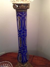Gorgeous details on this cobalt blue Victorian lamp