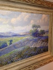 One of two original oil on canvas of bluebonnets