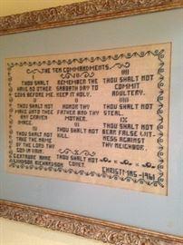 """Framed needlepoint """"Ten Commendments"""""""