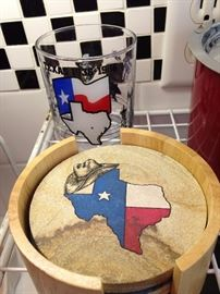Texas glassses and coasters