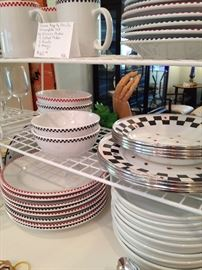 Red, black, and white dishes