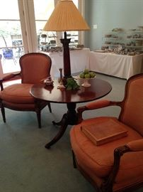 Antique arm chairs and three leg round table