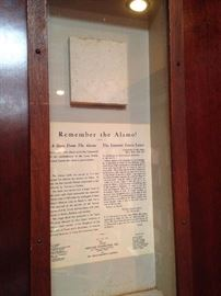 Framed piece of The Alamo - gift of the Texas Heritage Foundation