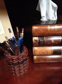 """Book"" pencil holder and tissue holder"