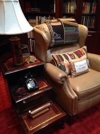 Leather recliner ready for reading