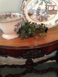 Vintage P. Regout Maastricht - Canton platter and bowl; (Note the intricately carved details on the entry/sofa table.)