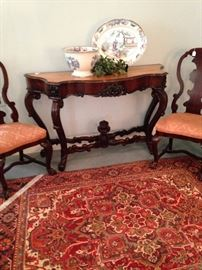 Ornate chairs and entry/sofa table