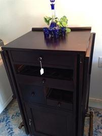 Blue decanter set; drop leaf bar for two (brass foot rails)