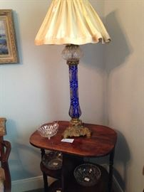 Exceptional cobalt blue Victorian antique lamp; 3 tiered side table