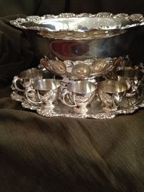Impressive silver plate punch bowl and cups