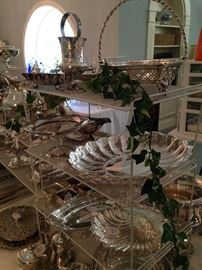 Huge array of sterling and silverplate serving pieces