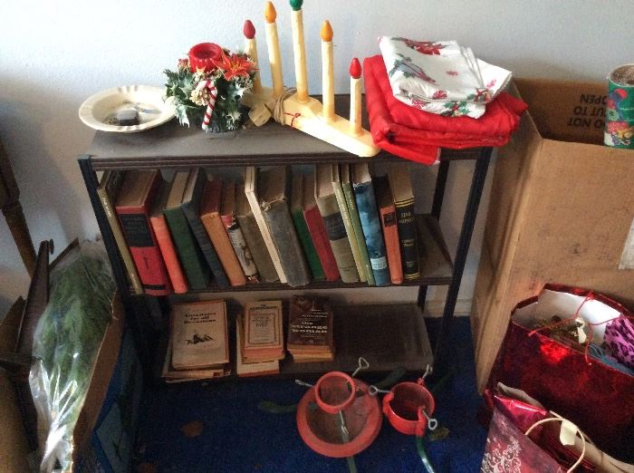 Vintage Christmas and other items at top of stairs