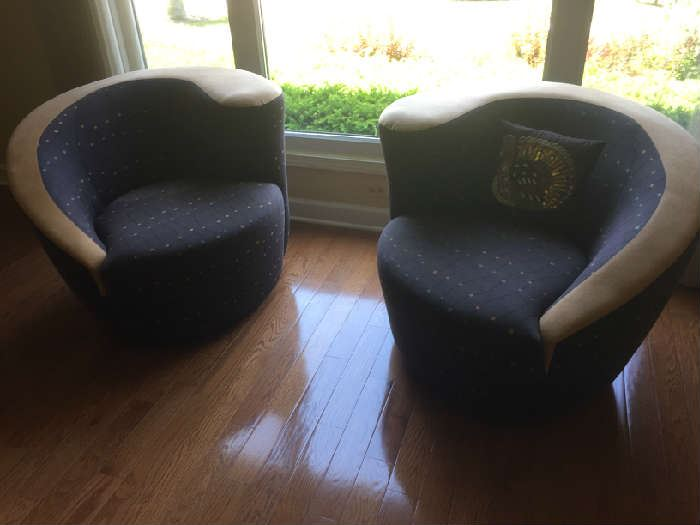 Two  Swivel material club chairs 37W x 38L x 29H  Directional USA $160 for Pair