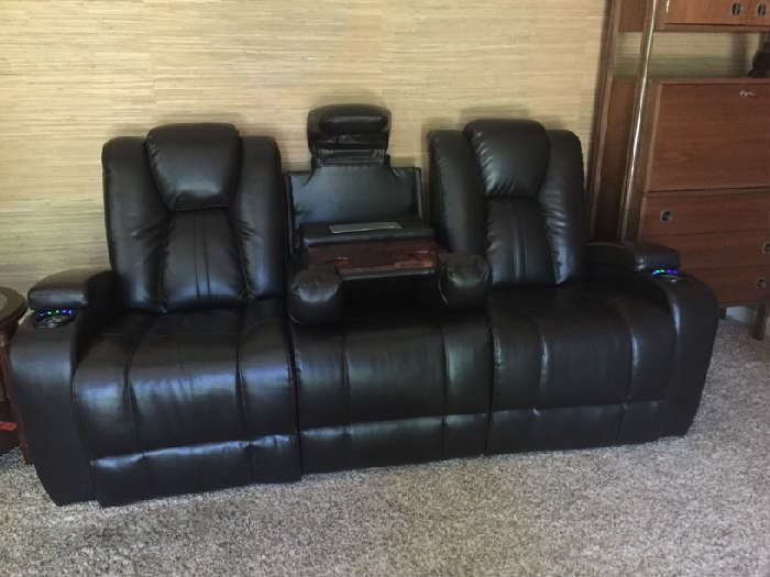 Matrix Power Coffee Reclining Sofa Leather blended 85L x 40 W x 42H  original $1500 purchased less than a year ago.... BUY IT NOW $700