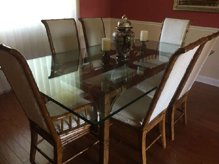 Drexel Heritage Beveled Glass 3/4 Inch  and antique brass dining room table 78L x 46W x 29 1/2   and 6 chairs BUY IT NOW $495