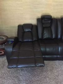 Matrix Power Coffee Reclining Sofa Leather blended 85L x 40 W x 42H $1500 purchased less than a year ago.... BUY IT NOW $700