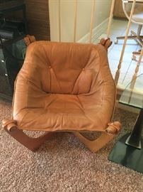 A Pair of IMG Luna Leather Chairs, Teak color wood frame $750 for the Pair  Buy It NOW with Paxem