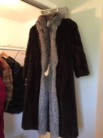Thomas E. McElroy Natural Ranch Mink Coat with Natural Silver Fox Tuxedo Medium