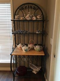 Bakers Rack, Teapots, Alice in Wonderland Tea Set