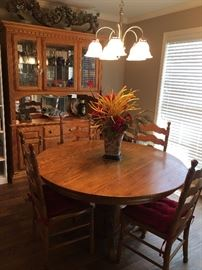 ladder back chairs and breakfast room table. Oak China Hutch