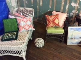Wicker chaise and rocker