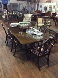Inlaid dining table with 2 leaves,  shield back dining chairs, lots of crystal and cut glass