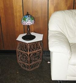 rattan table and little lamp