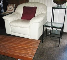 white leather chair, end tables and MCM coffee table
