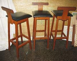 Vintage Mobel industry  N.E.Glasdam Jensen 5750 Ringe Denmark  3 bar stools   MCM