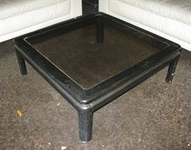 black lacquer and glass square coffee table