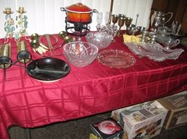 assorted glassware, silverplate small appliances and more