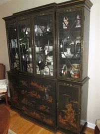 BLACK LACQUER BREAKFRONT CHINA CABINET