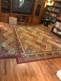 #47 8x10 hometown collection rug machine red/blue $125 #48 red/blue runner machine  2x8 $30 #13 end glass door pieces for entertainment ctr 31x23x81 2@175 Center piece $250 or purchase all 3 for $475