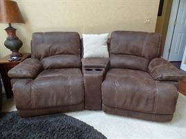 Like New -  Leather recliner theater seats - 2  w/ cup holders