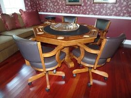 Super neat game table with 4 Captain's chairs on castors-lazy Susan