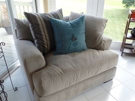 Like new couch and pillows w/matching oversized chair and ottoman (Blue pillow sold separately)