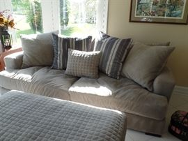 Like new couch and pillows w/matching oversized chair and ottoman