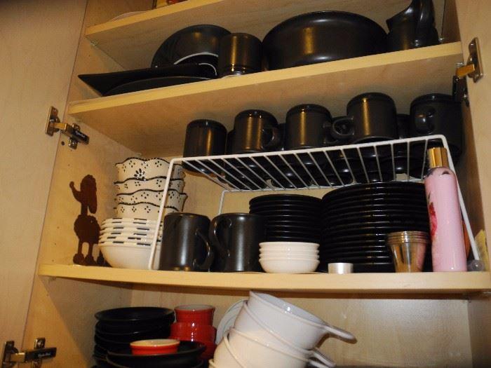 Large set of black stoneware