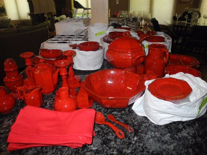 Large set of red stoneware from Italy