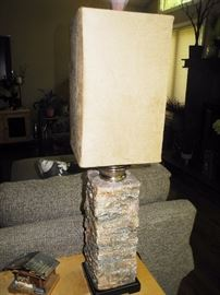 Stone base lamp (pair)