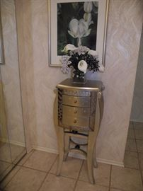 Lovely silver side table with drawers!