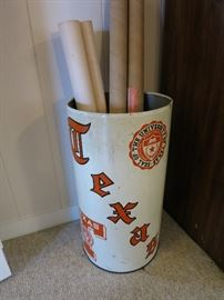 Vintage University Of Texas Tall Tin Trash Can