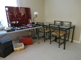 Jewelry, Glass Table With Four Chairs