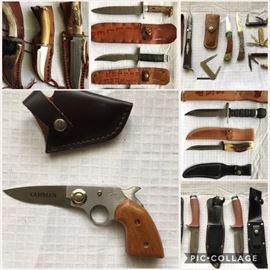 Hunting knives, pocket knives, fishing knives