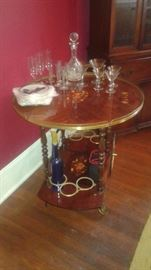 Vintage Italian inlaid Marquetry wood serving cart