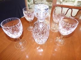 Waterford decanter with 4 wine glasses