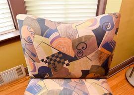 "BUY IT NOW! Lot #101, Contemporary Geometric Print Slipper Chair (Approx. 33"" L x 28"" W x 35"" H), $95"