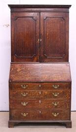 #4J c1905 Georgian oak bureau bookcase secretary